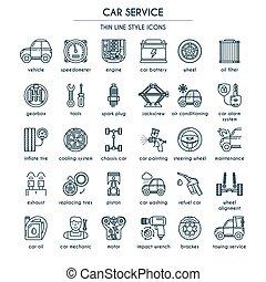 car, linha, jogo, serviço, ícone