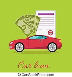 Car loan approved document with dollars money concept. Modern car on stylish background in flat cartoon design style. Loan, car, auto loan, buying a car, new car, car finance, car keys