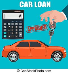 car loan concept, hand holding key
