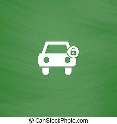 car lock icon - Car lock. Flat Icon. Imitation draw with...