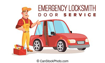 Car Locksmith Worker Service Vector. Classic Serviceman. Isolated On White Cartoon Character Illustration