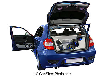 car luxury audio system - backside of car with power audio...