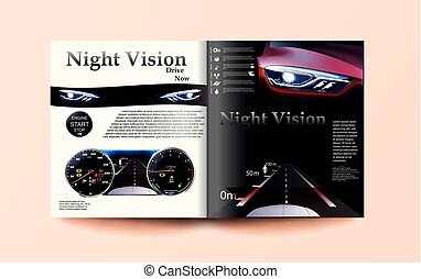 car magazine template, The red car against the background of the automobile dashboard. night vision car