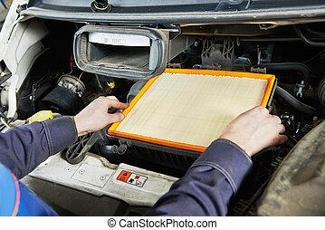 car maintenance - air filter replacing