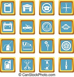 Car maintenance and repair icons azure