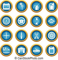 Car maintenance and repair icons blue circle set