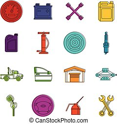 Car maintenance and repair icons doodle set