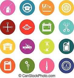 Car maintenance and repair icons many colors set