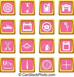 Car maintenance and repair icons pink