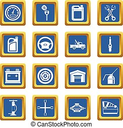 Car maintenance and repair icons set blue