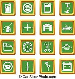 Car maintenance and repair icons set green