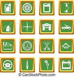 Car maintenance and repair icons set green