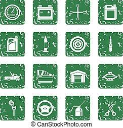 Car maintenance and repair icons set grunge