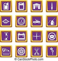 Car maintenance and repair icons set purple