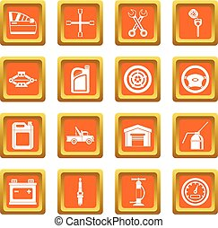 Car maintenance and repair icons set orange