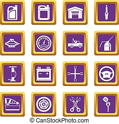 Car maintenance and repair icons set purple