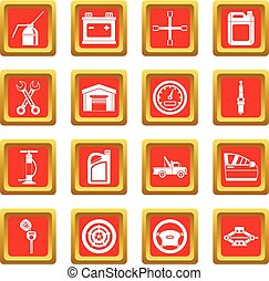 Car maintenance and repair icons set red