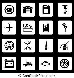 Car maintenance and repair icons set squares