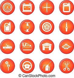 Car maintenance and repair icons vector set
