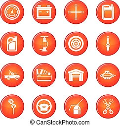 Car maintenance and repair icons vector set