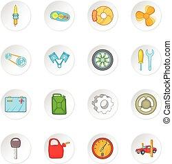Car maintenance icons set, cartoon style