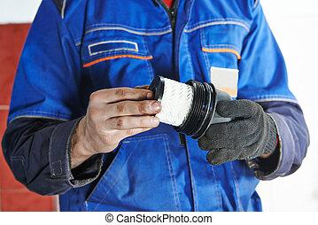car maintenance - oil filter replacing