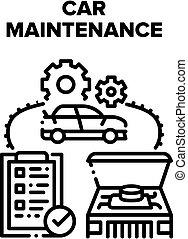 Car Maintenance Vector Black Illustration