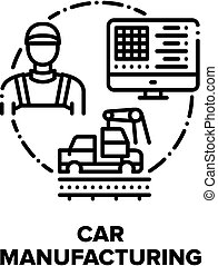 Car Manufacturing Factory Vector Concept Black Illustration