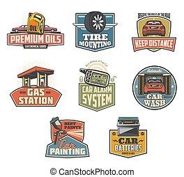 car, manutenção, e, serviços, ícones, e, símbolos