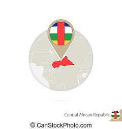 CAR map and flag in circle. Map of CAR, CAR flag pin. Map of...