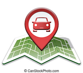 Car Map Indicates Auto Vehicle And Direction