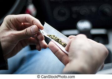 car, marijuana, stash, conjunto, fazer, homem