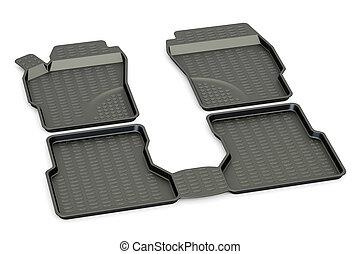 Car mats closeup, 3D rendering
