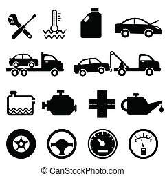 car, mecânico, manutenção, ícones
