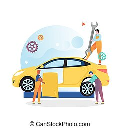 Car mechanic and repair shop vector concept for web banner, website page