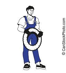 Car mechanic character holding wheel tire vector ...
