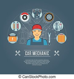Car Mechanic Concept Icons