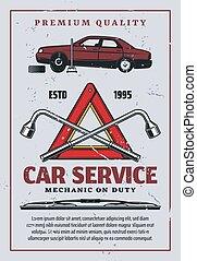 Car mechanic garage, auto service