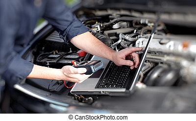 Car mechanic hands