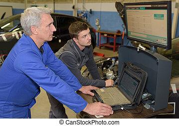 car mechanic in uniform auto repair service