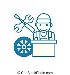 Car mechanic linear icon concept. Car mechanic line vector sign, symbol, illustration.