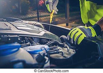 Car Mechanic Oil Check