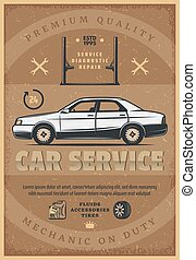 Car mechanic service vector retro poster