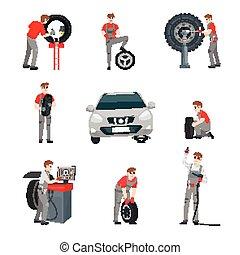 car mechanic set - Mechanic in a garage sign. Wheels and ...
