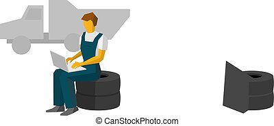 Car mechanic sitting on a tires work with laptop