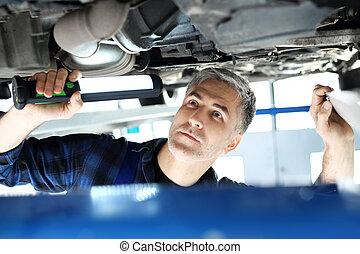 Car mechanic. - The car in the garage, the mechanic checks...