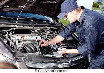 Car mechanic working in auto repair service.