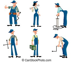 Car mechanics set - Vector illustration of a car mechanics ...
