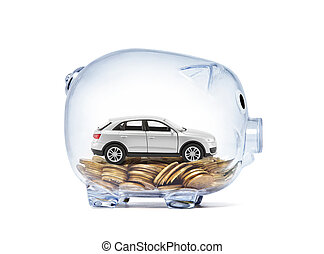 Car miniature on money inside transparent piggy bank with clipping path