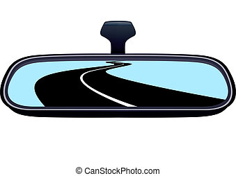 Car mirror and is reflected in it receding into the distance the road.
